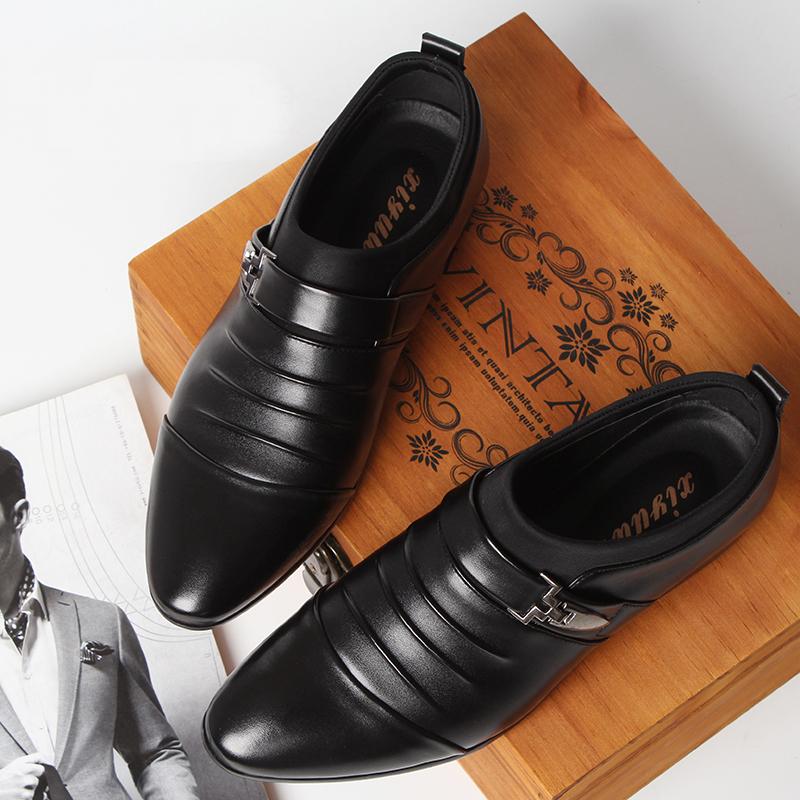 男鞋冬季套脚皮鞋男韩版商务尖头黑色男士英伦正装潮流休闲鞋子男