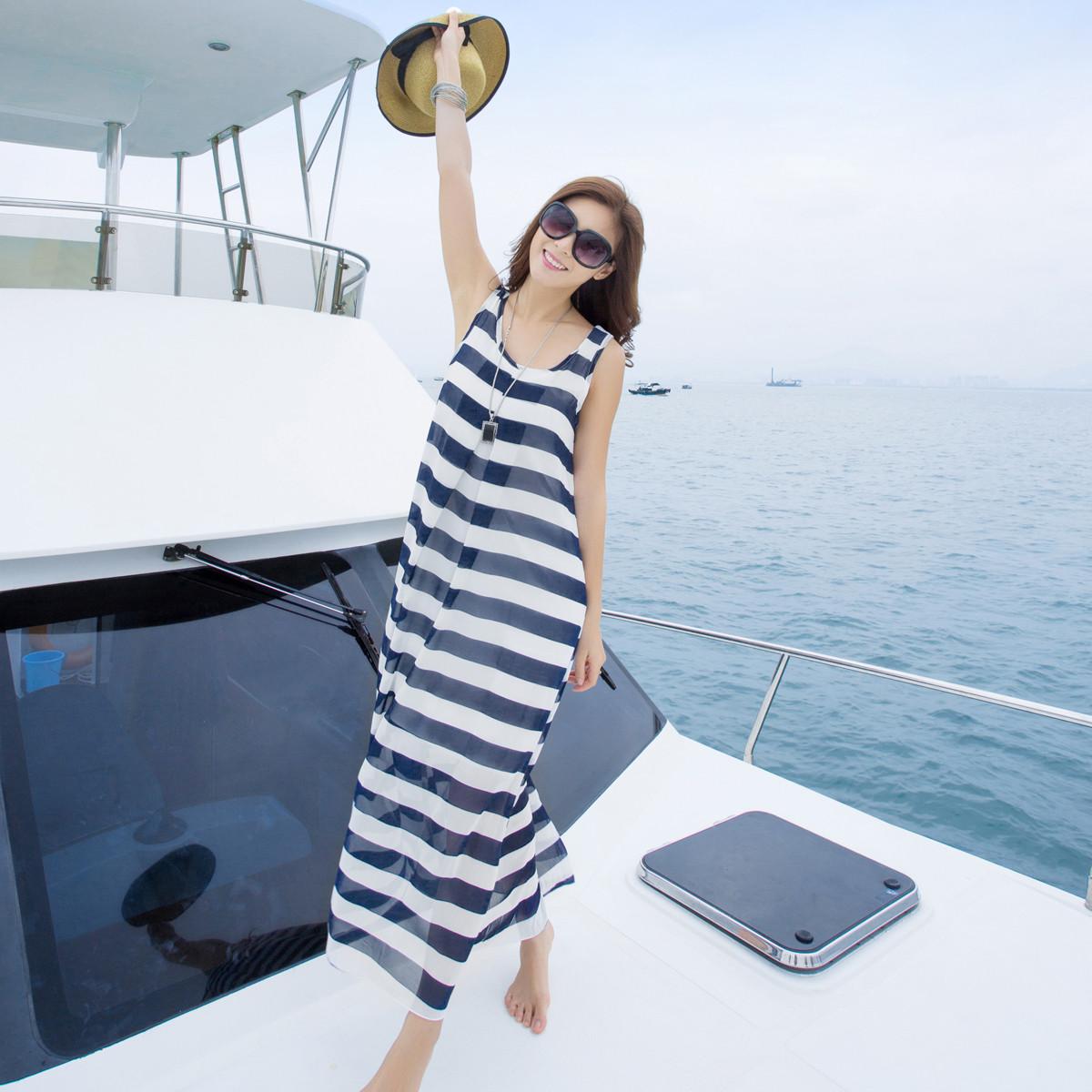 背心裙大码沙滩裙条纹雪纺连衣裙海边度假裙长裙