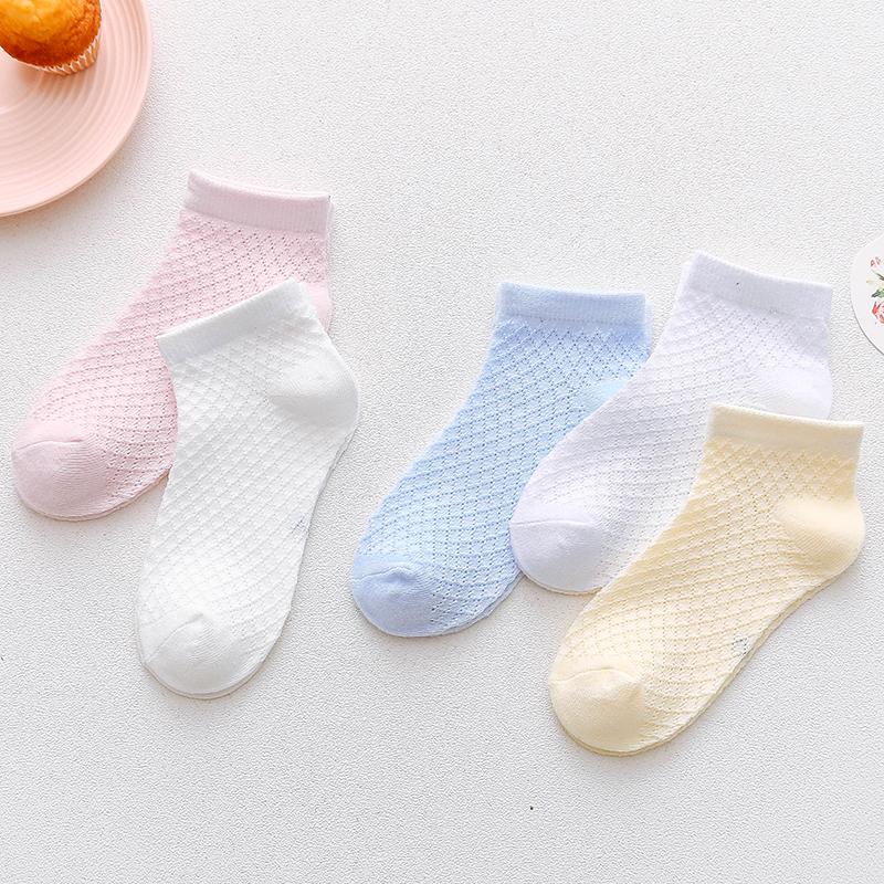儿童夏天袜子春夏季薄款纯棉白透气男童网眼船袜女宝宝超薄夏凉袜