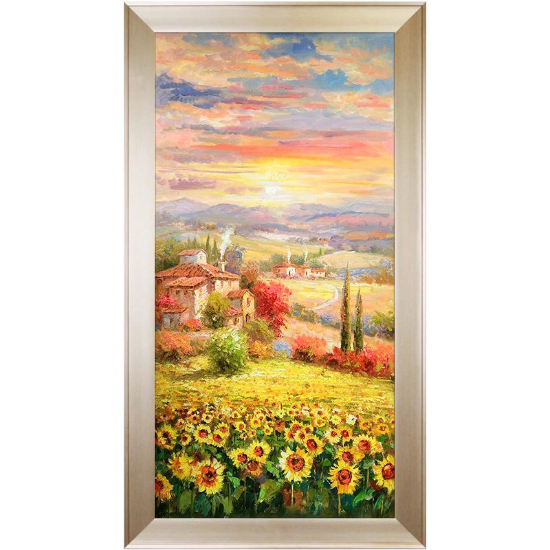 现代简约玄关装饰画竖版客厅过道走廊壁画挂画手绘向日葵花卉油画
