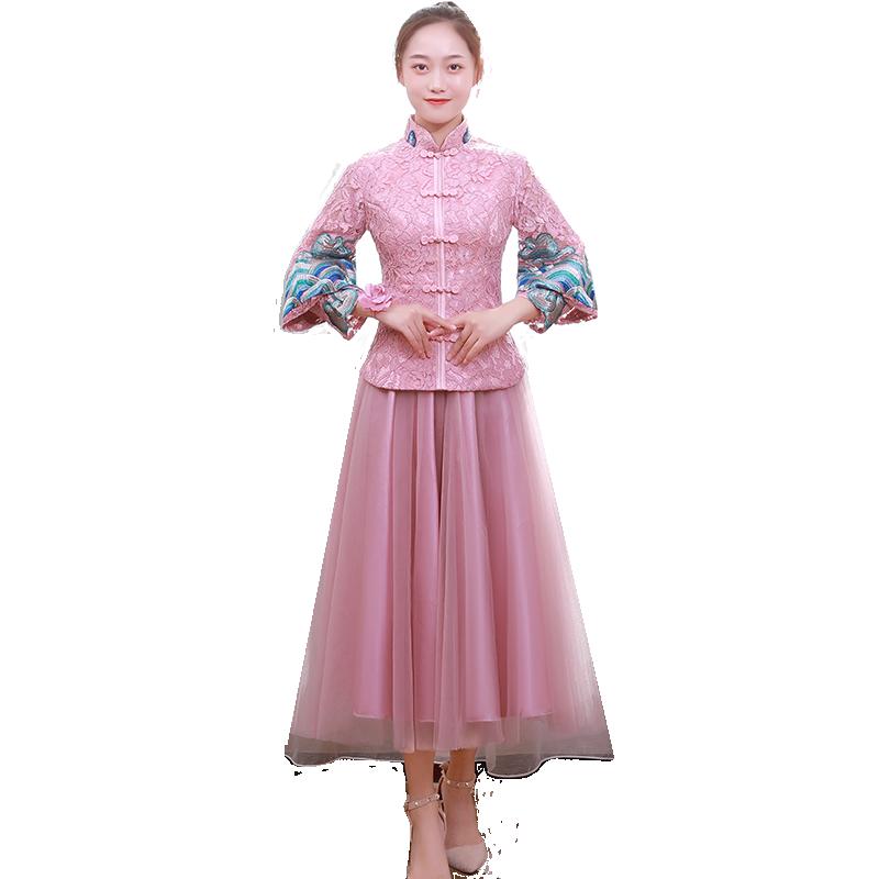 伴娘服2019新款中式中国风新娘伴娘团中长款时尚粉色姐妹裙礼服女