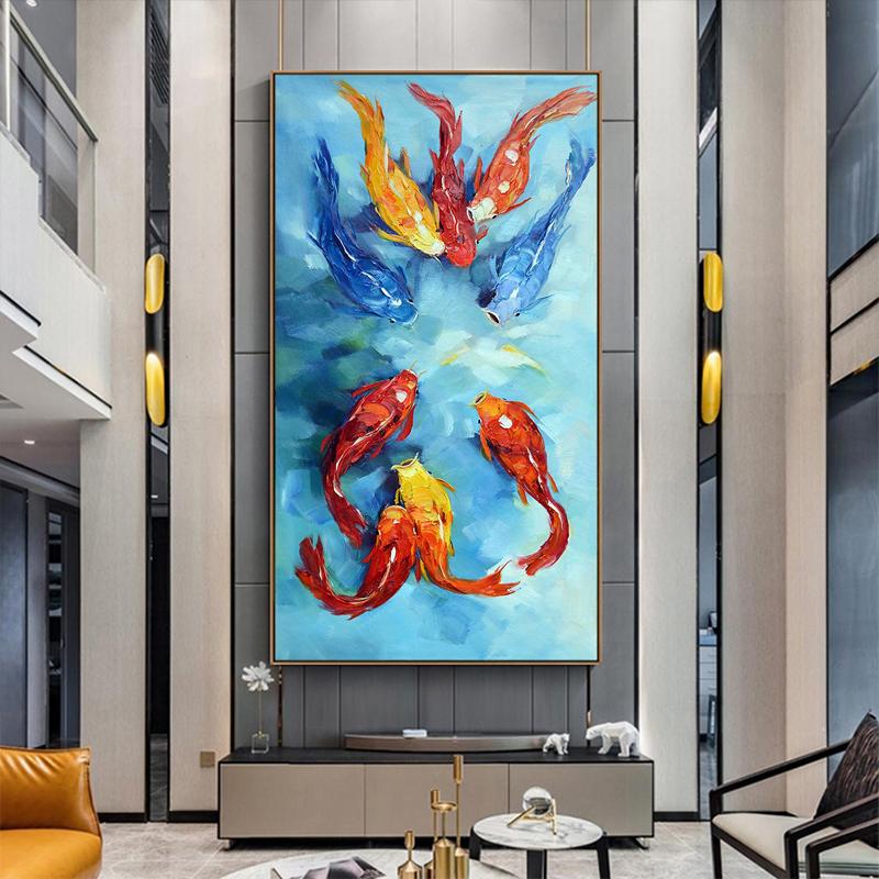大芬村油畫手繪現代簡約入戶玄關掛畫走廊過道手工九魚圖錦鯉招財
