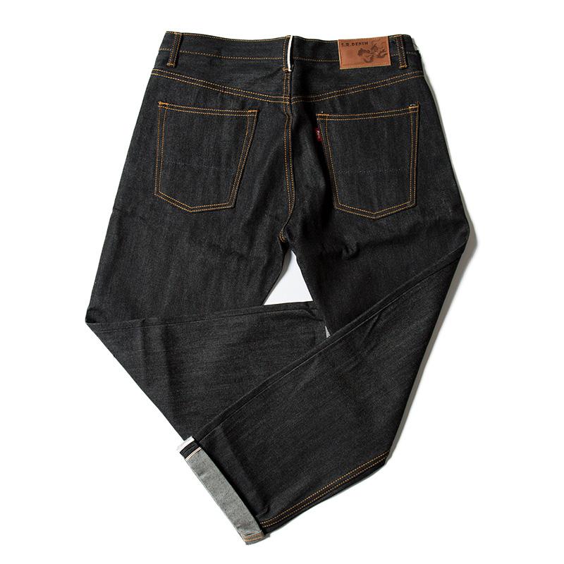 【九分裤】原色复古赤耳丹宁牛仔裤阿美咔叽修身宽松直筒牛仔裤男