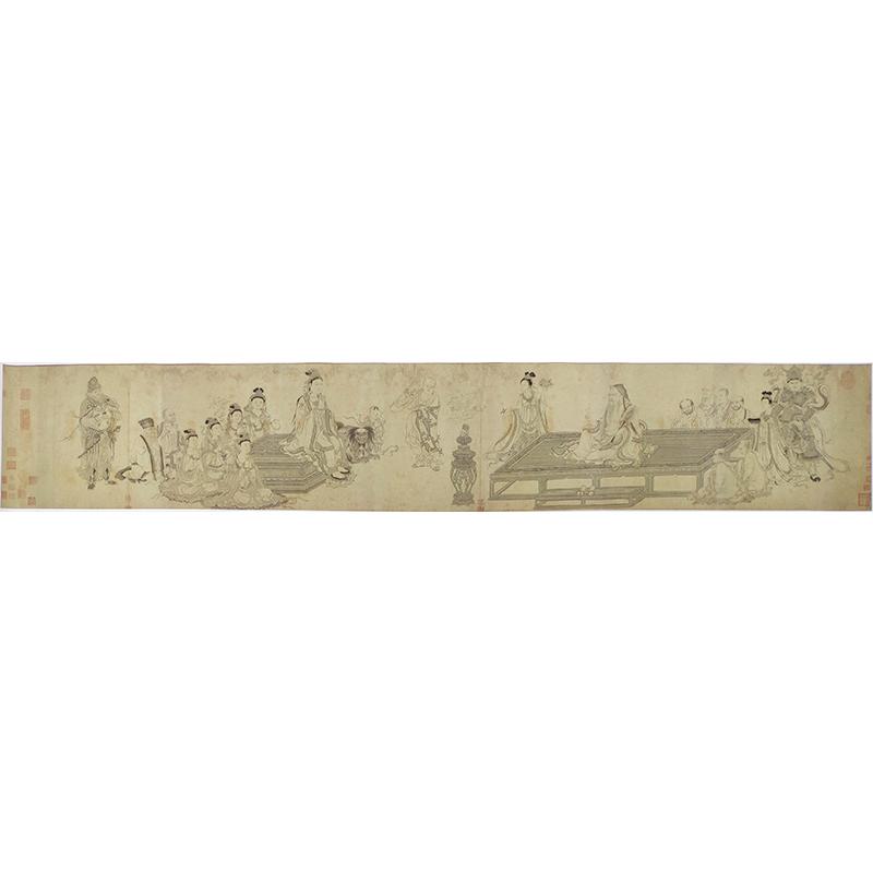 1:1真迹高清复制艺术微喷宣纸国画李公麟维摩演教图206*35cm定制