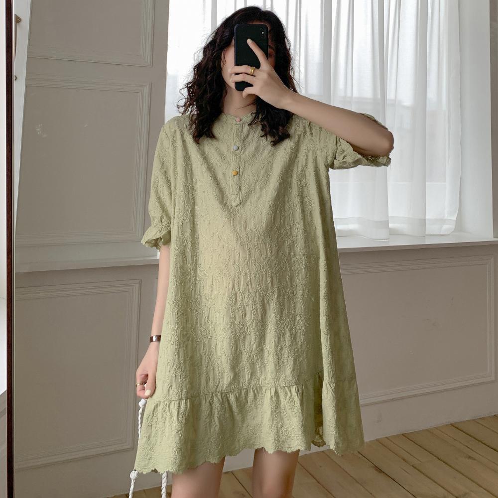 美刺绣短袖潮妈夏季韩版连衣裙