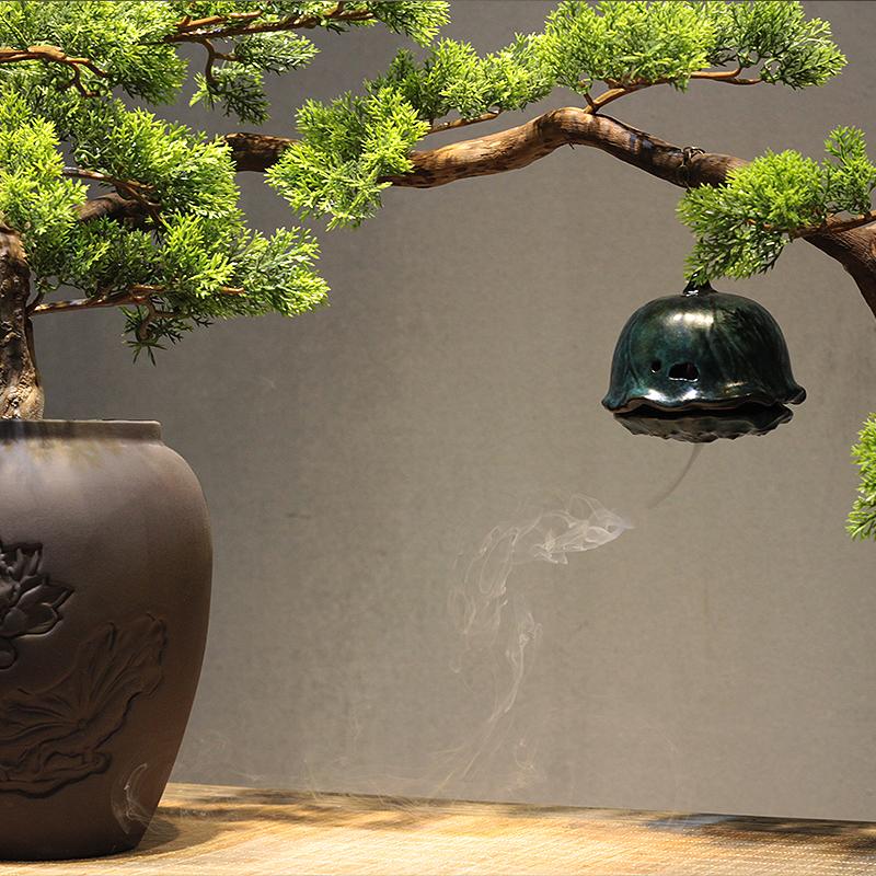 倒流香会所软装博古架 新中式风化木根雕迎客松陶瓷花盆禅意摆件