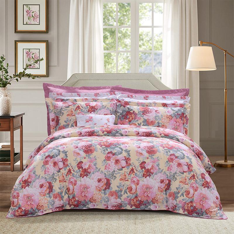 富安娜家纺四件套全棉纯棉夏季床上用品网红款床单被套被罩田园风