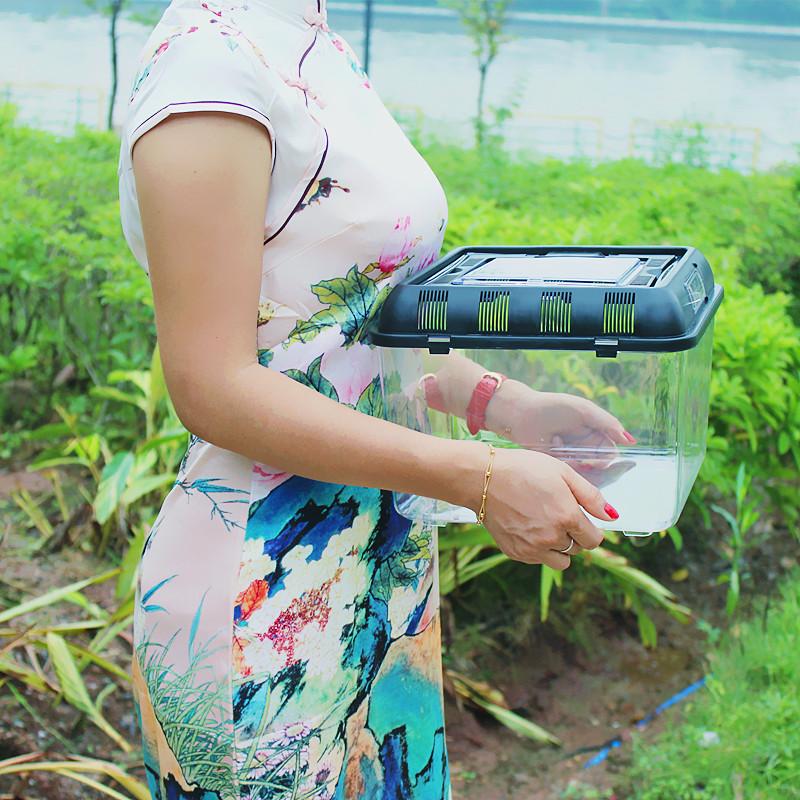 超白缸金鱼乌龟亚克力 塑料透明宠物爬虫盒 大型手提带盖晒台别墅