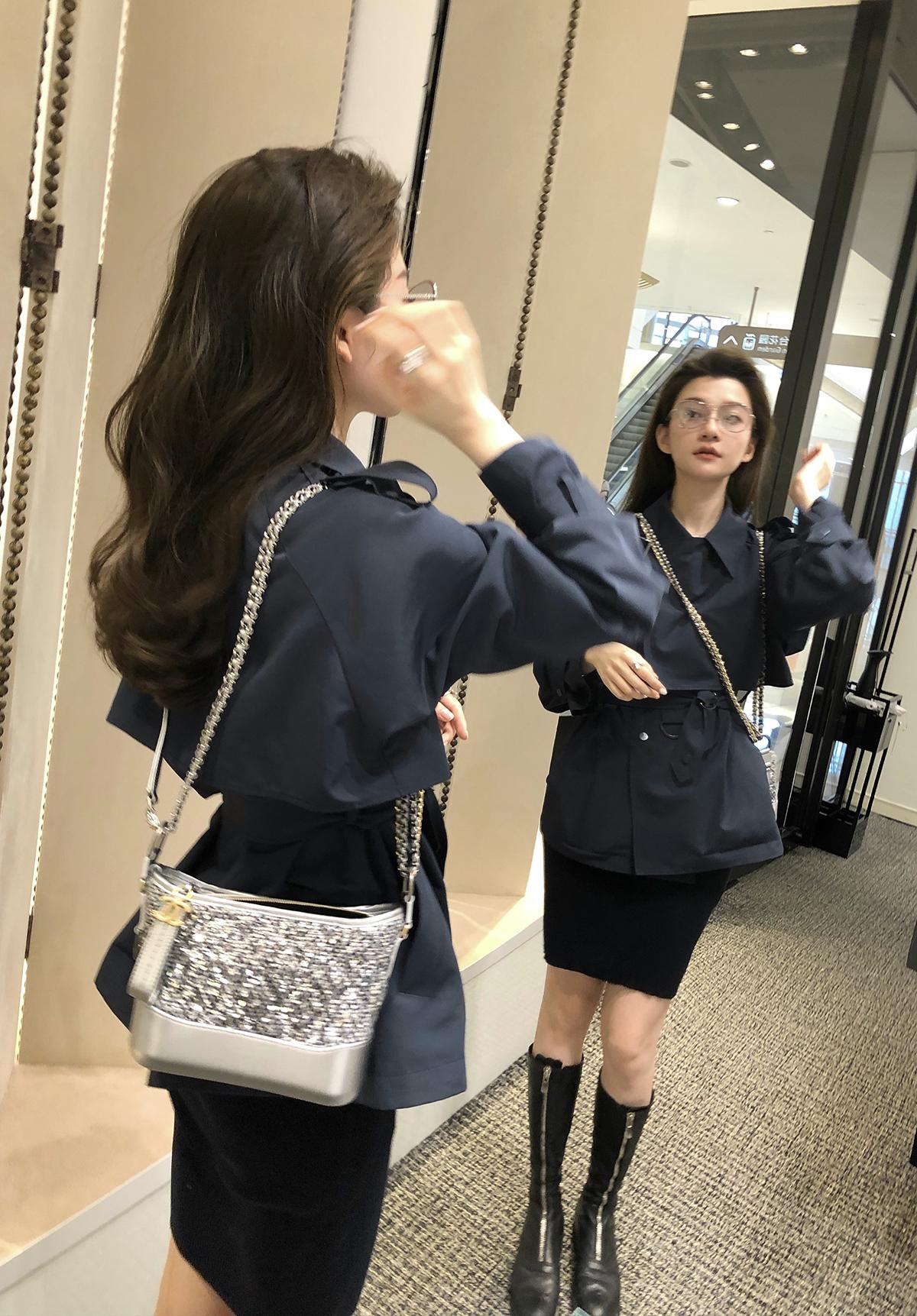 THEHANDLE/居 *巴黎丽兹短款风衣女韩版宽松系带腰设计感秋季外套