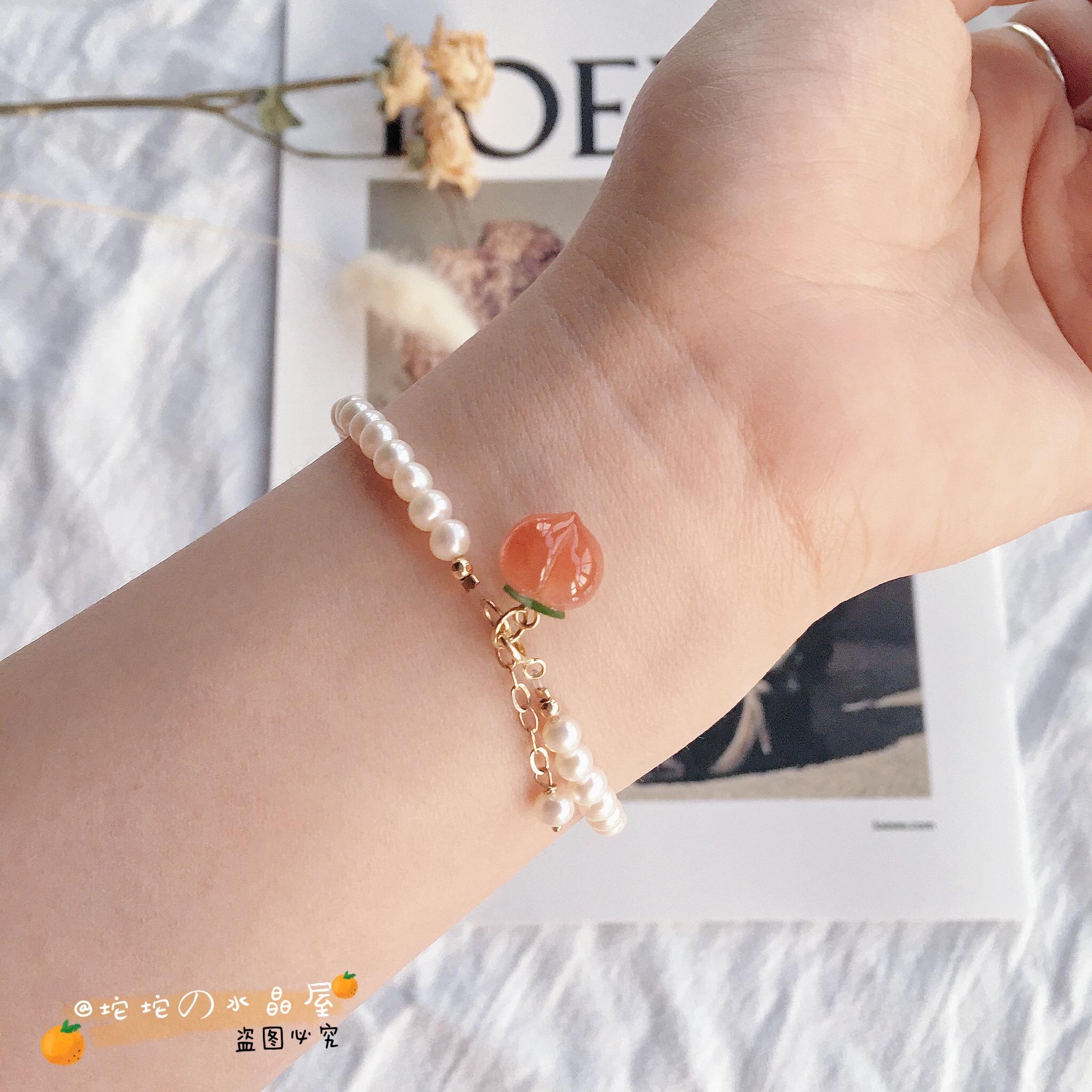 南红桃子水蜜桃红玛瑙吊坠天然项链 小众设计小红书手链手串  ins