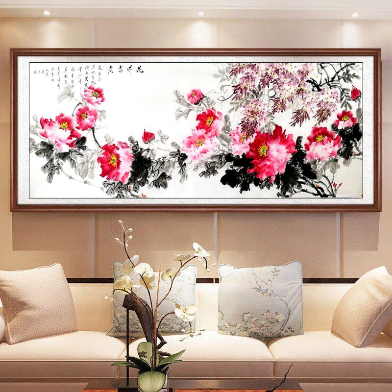 國畫牡丹畫中式客廳裝飾畫純手繪花開富貴背景墻壁橫幅掛畫已裝裱