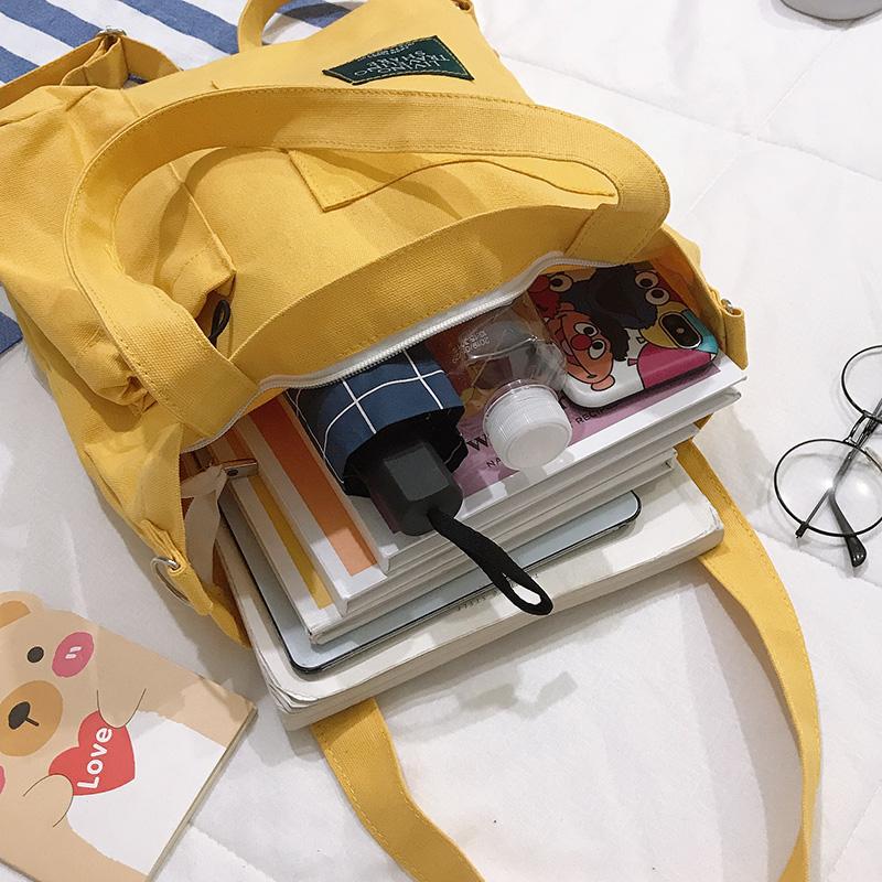 学生手拎简约百搭单肩手提袋 ins 帆布包女斜挎日系大容量韩版文艺