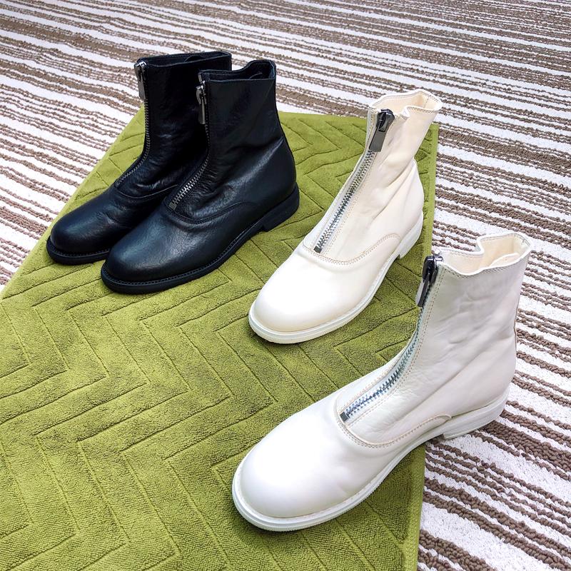 短靴女冬季加絨2020新款白色前拉鏈馬丁靴子guidi210鬼帝靴真皮靴