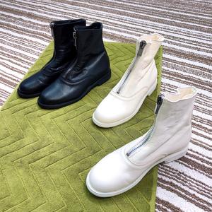短靴女冬季加绒2019新款白色前拉链马丁靴子guidi210鬼帝靴真皮靴