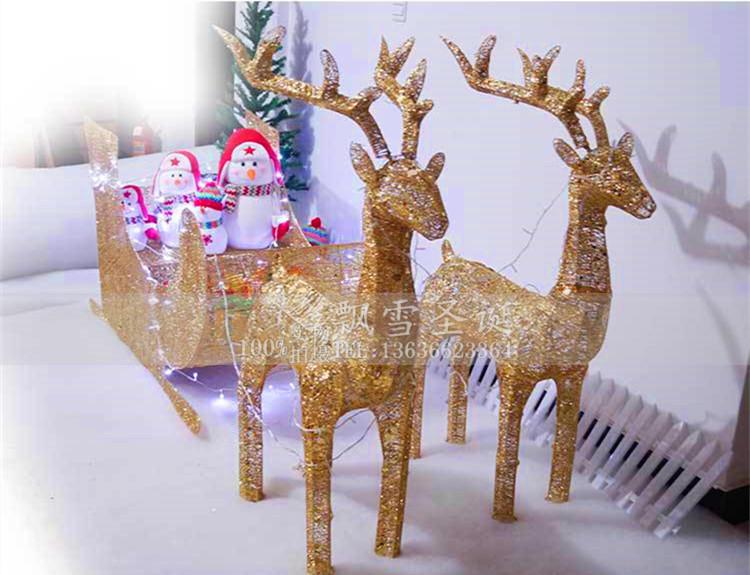 圣诞金丝鹿节日装饰品场景布置铁艺发光鹿拉车大型雪橇车麋鹿摆件