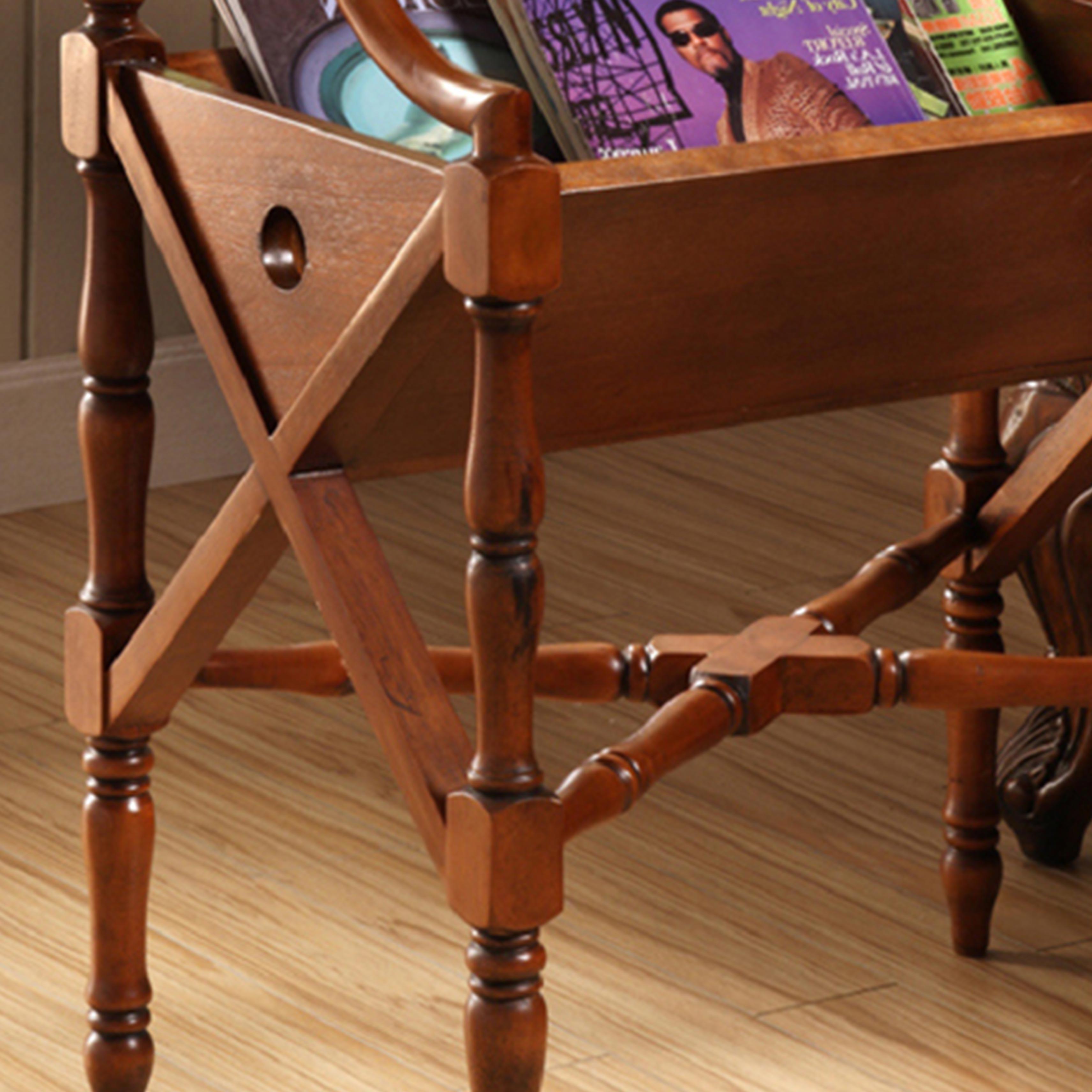 美式乡村复古杂志书报架 办公室落地立式木质实用创意收纳报刊架