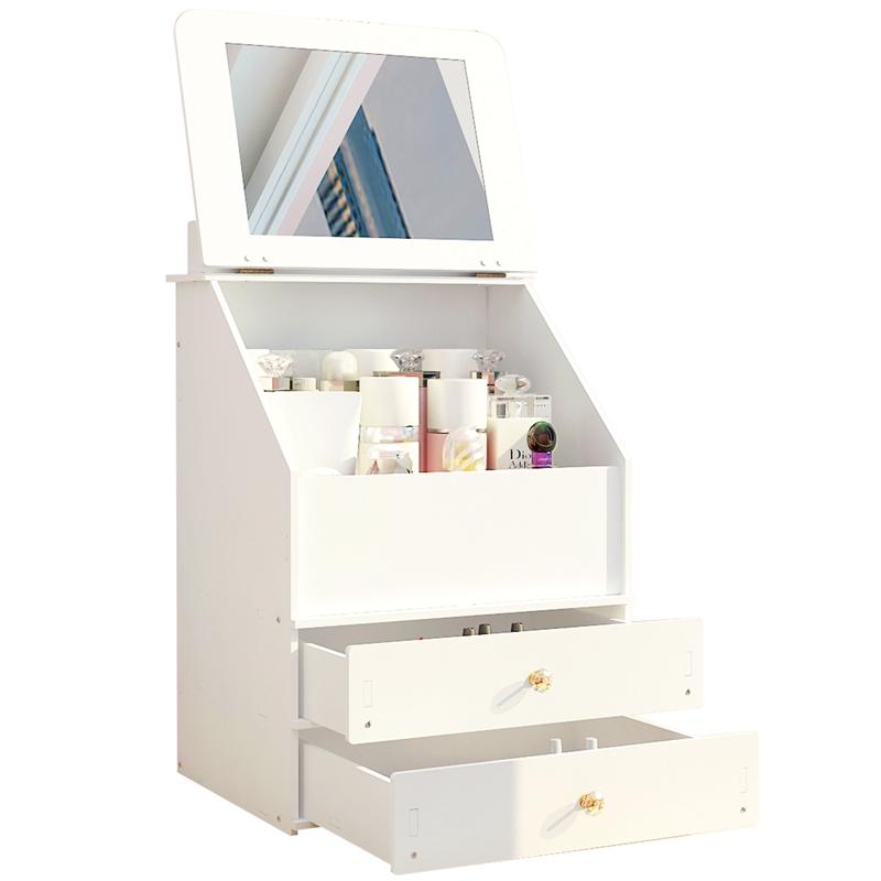 防尘桌面化妆品收纳盒网红带镜子梳妆台护肤品储物盒抽屉式化妆盒