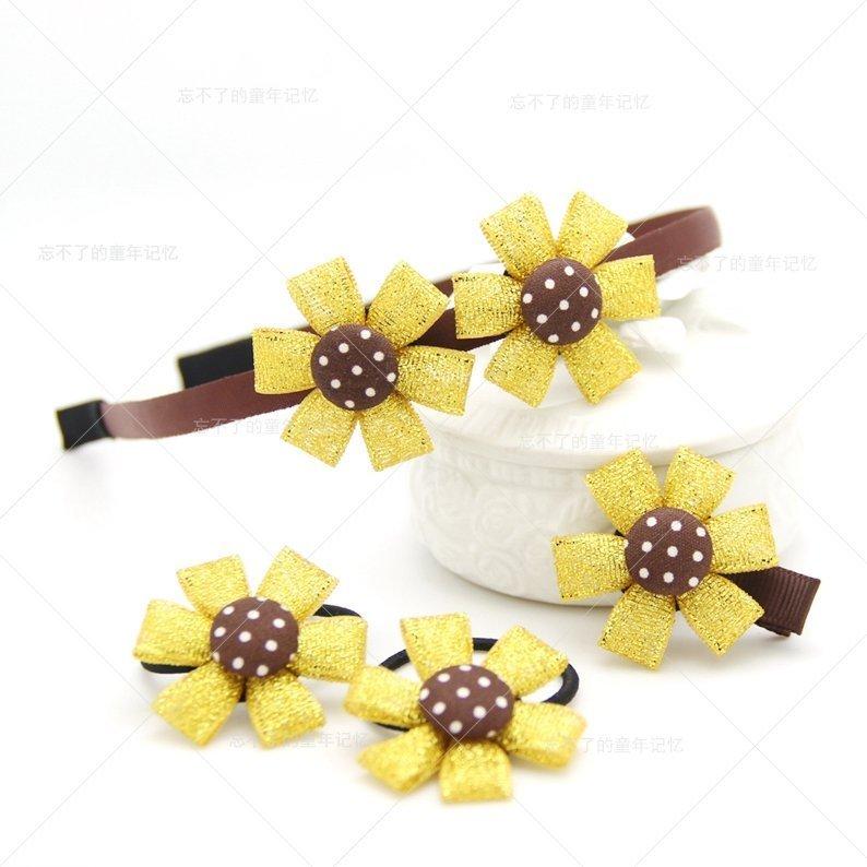 p477韓國兒童手工頭飾髮飾寶寶拍照金花髮圈髮夾髮箍髮卡套裝禮盒