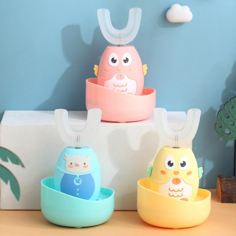 儿童电动牙刷u型宝宝全自动防水声波牙刷口含式充电智能刷牙神器