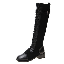 长筒靴女过膝带拉链大码胖小个子粗腿中跟皮面骑士靴系带新款网红