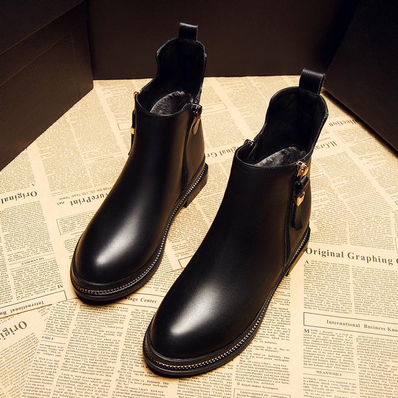 新款马丁靴平底真皮学生英伦风孕妇时尚潮 2019 小跟短靴女春秋单靴