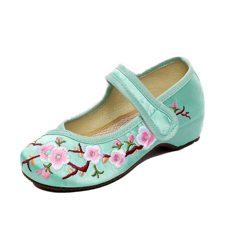儿童绣花鞋民族风女童旗袍古装汉服鞋子小孩大中童牛筋底舞蹈布鞋