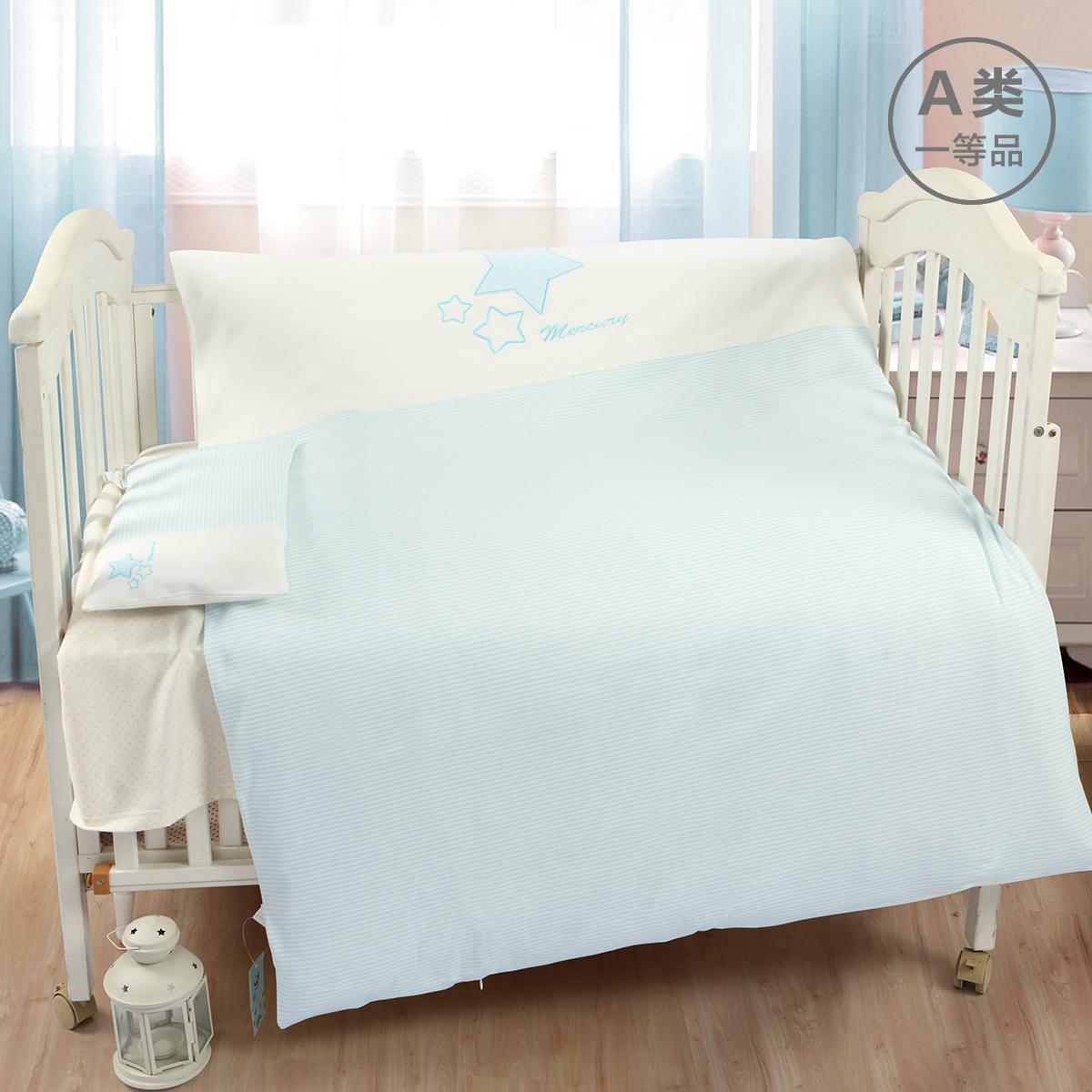 婴儿床上用品宝宝床枕套被罩被套套装纯棉全棉拼接床新生儿童套件