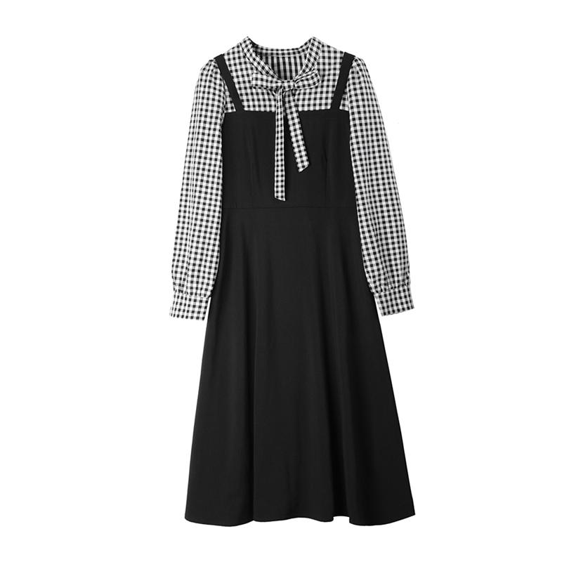 宿本长袖连衣裙2020秋季新款拼接格子小黑裙中长款假两件系带裙子