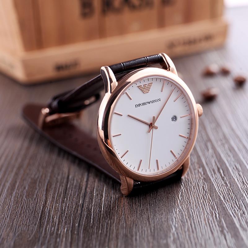 【618预售】Armani阿玛尼手表男休闲简约时尚石英皮带男表AR2502