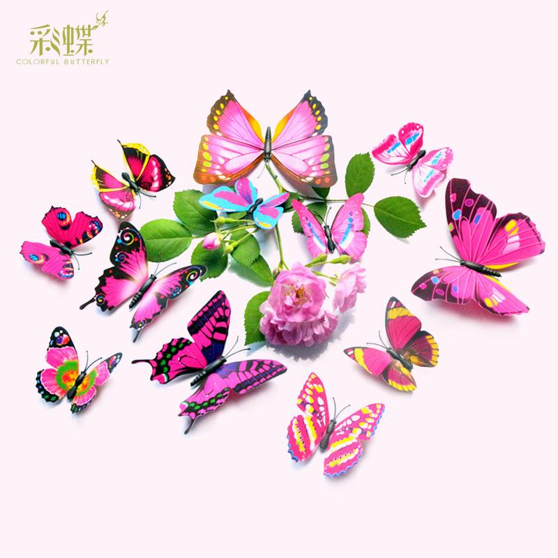 蝴蝶3d模擬立體牆貼紙客廳臥室桌布貼婚房裝飾貼畫帳篷裝飾