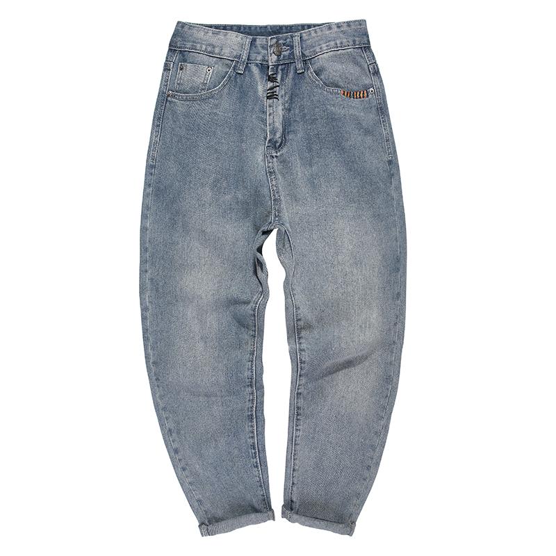 兔先森牛仔裤秋季男士长裤九分裤水洗潮流休闲裤直筒裤青年小脚裤