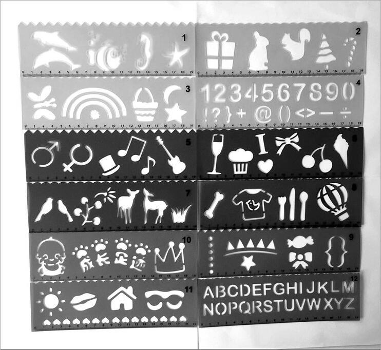 天天特价简易DIY绘画尺可爱创意卡通镂空绘图模板12张一套彩模板