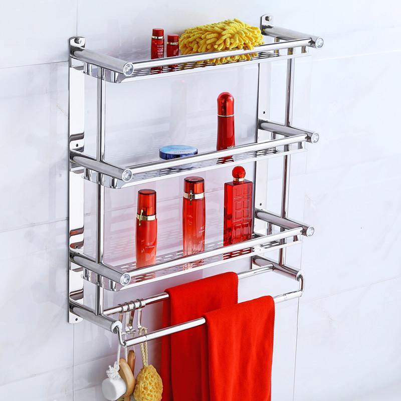 洗澡间毛巾架不锈钢浴室置物架子双层三层卫生间淋浴房壁挂免打孔
