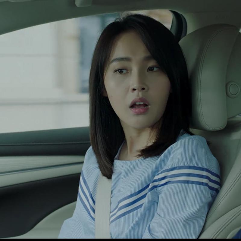 张佳宁同款衣服拼色圆领长袖条纹衬衫