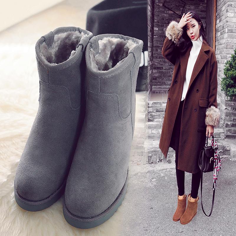 冬季女士雪地靴平底内增高短靴高跟真皮女靴大小码短筒加厚绒棉鞋