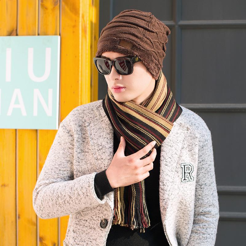 男士帽冬季潮韩版青年针织保暖护耳加绒毛线帽加厚围巾两件套装