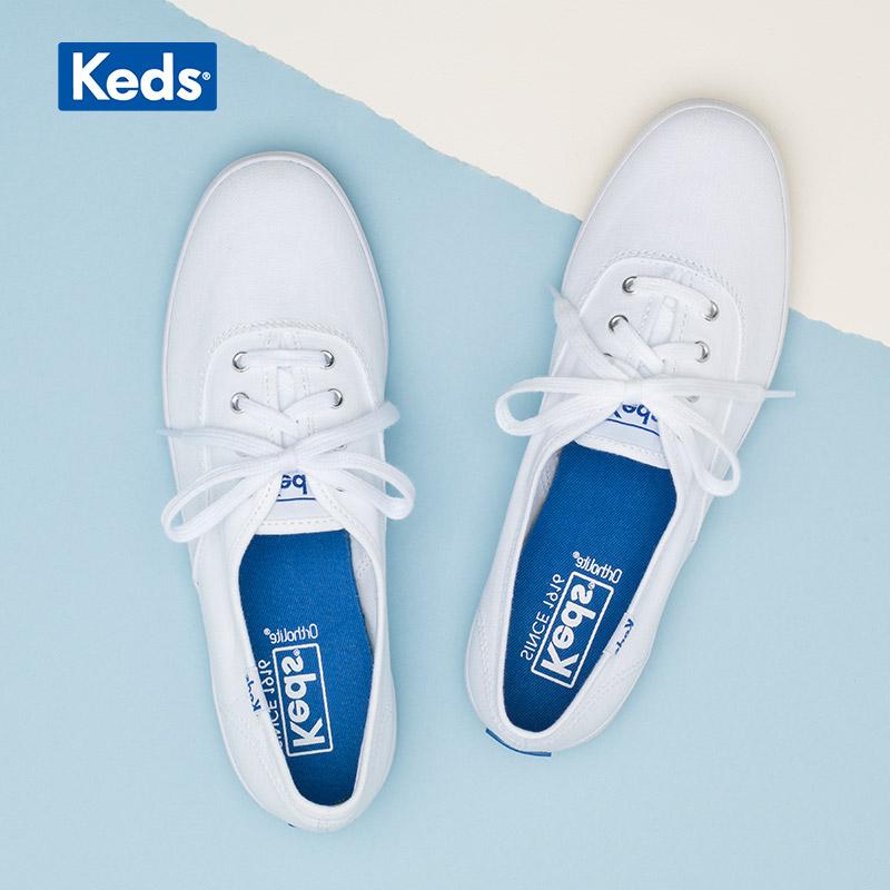 Keds旗舰店郑秀晶同款帆布鞋百搭基础款小白鞋休闲女鞋WF34000