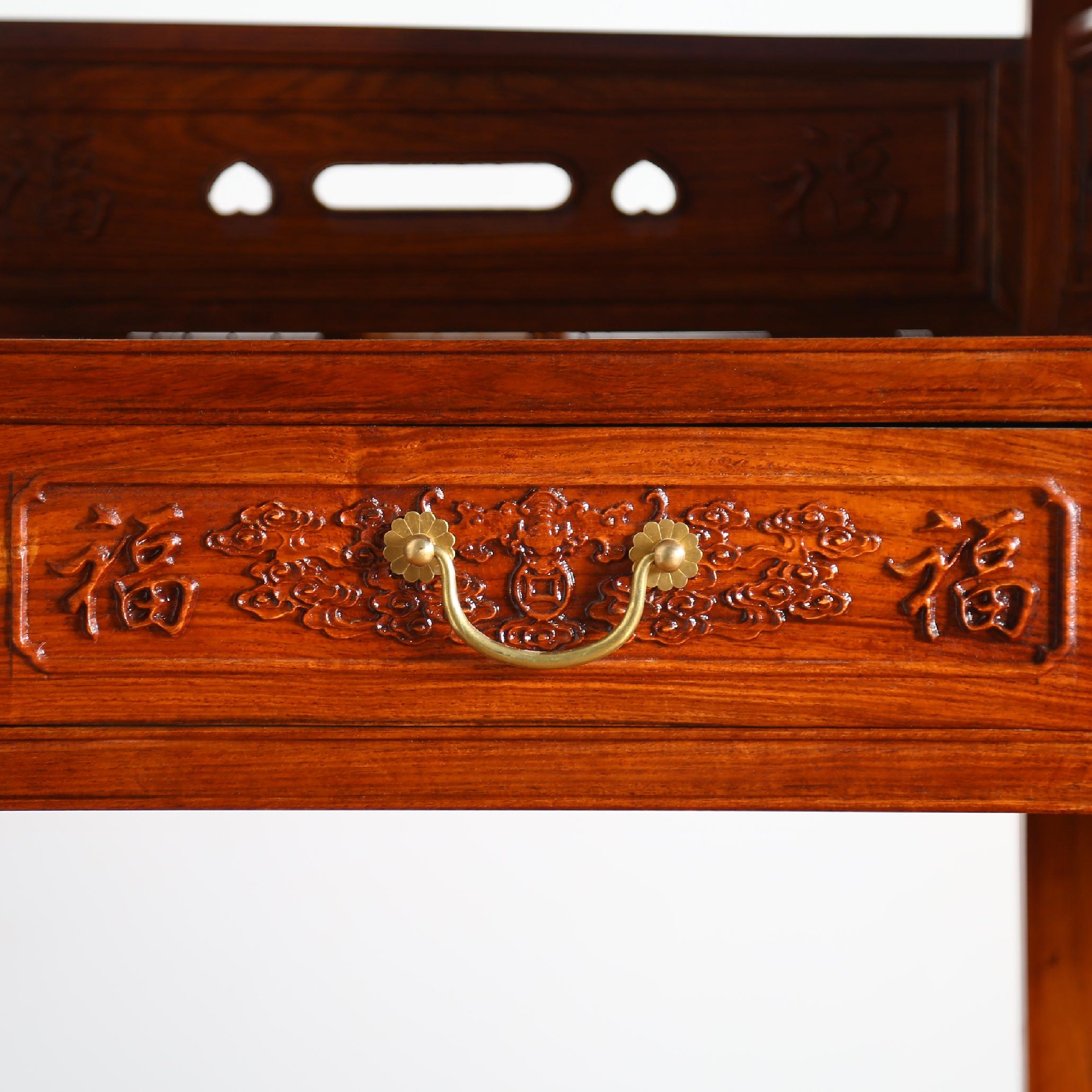 红木书架非洲黄花梨木 中式多层书架实木茶叶架 书房家具组合明清