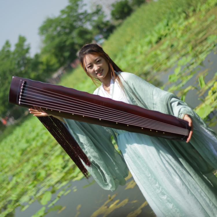 鸣鸟老杉木落霞式古琴初学者练习专业演奏考级琴古琴赠桌凳