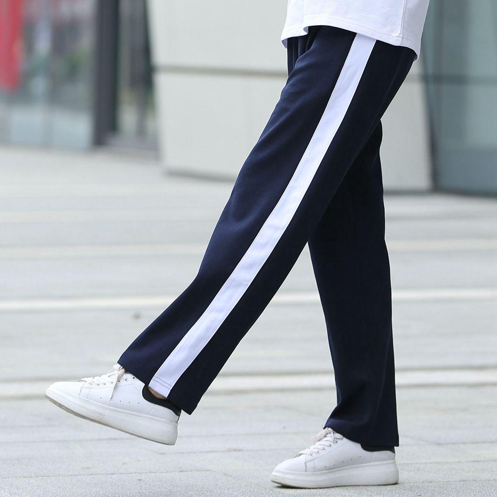 校裤一条杠男女高中生运动长裤直筒宽白边一道杠中学束脚校服裤子