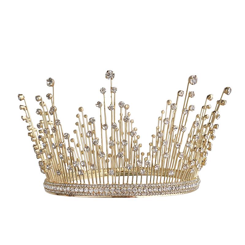 新款欧美新娘金色水晶镶钻超闪主婚纱大皇冠圆冠流苏耳环套装