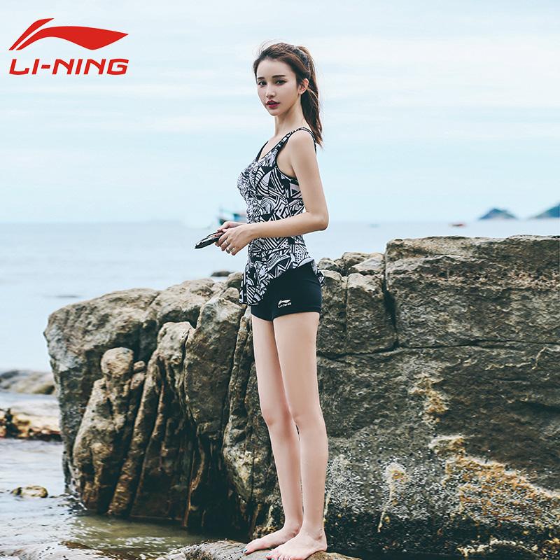李宁2019新款游泳衣女运动连体平角保守遮肚显瘦性感大码温泉泳装