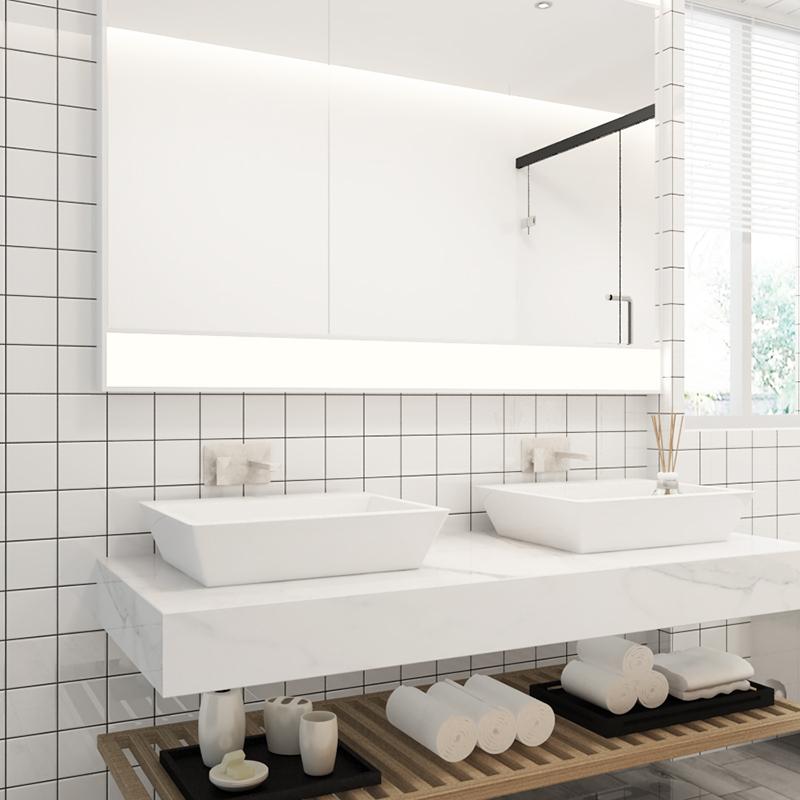 北欧现代厨房卫生间墙砖 黑格子小方砖白色砖灰色地铁砖面包砖300
