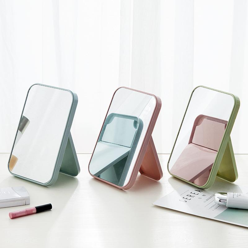 创意化妆镜简约便携小镜子女梳妆台桌面美妆镜卧室宿舍台式梳妆镜