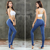 Yoga clothing running fitness yoga pants female tight stretch quick dry stepping foot fitness pants pants high waist slim pants