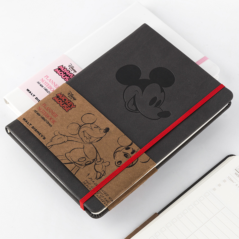 Kinbor迪士尼90周年A5皮面手帐本空白网格内页笔记本复古手账记事本子文具