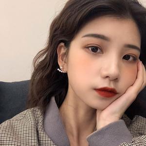 韩国一款两戴珍珠纯银气质女耳环简约网红耳钉百搭无耳洞耳夹R440