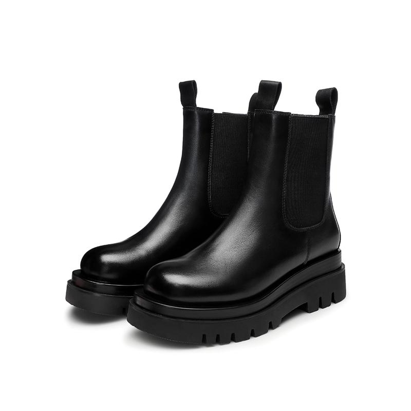 GXB01DD0 冬季新款商场同款女靴中跟厚底切尔西加绒女短靴 2020 他她