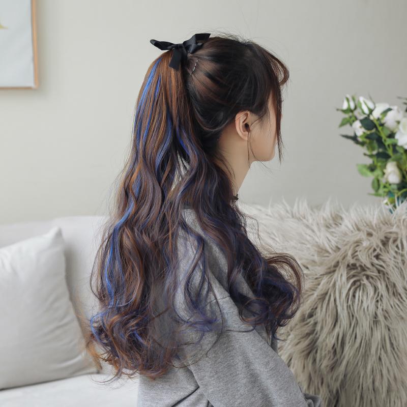 假发马尾女长卷发 大波浪挑染长发辫子自然绑带式假发女高马尾款