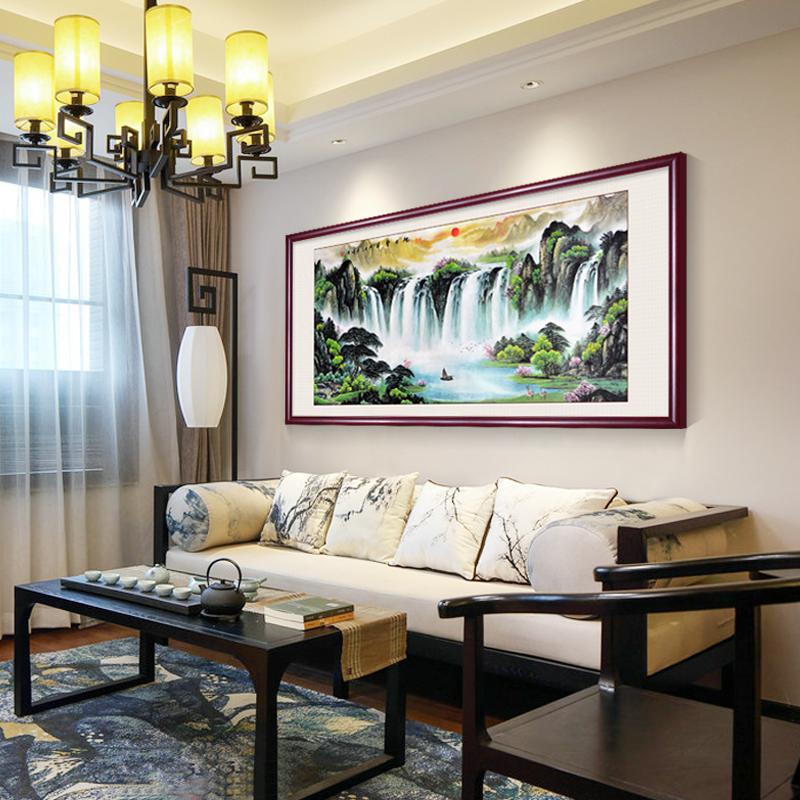 旭日东升山水画风水靠山客厅装饰画招财背景墙壁画办公室挂画国画